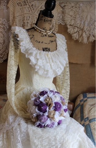 purple and lavender burlap and lace wedding flowers