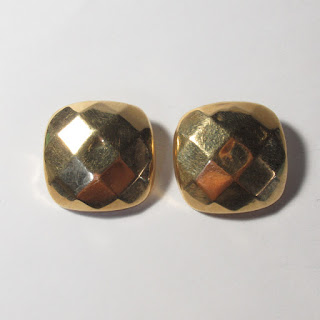 14K Gold Faceted Square Earrings