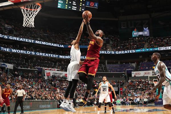 LBJ Debuts New Cavs Themed Nike LeBron 14s  in Denver Charlotte