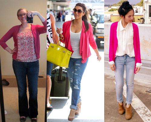 Como usar cardigã rosa com calça jeans