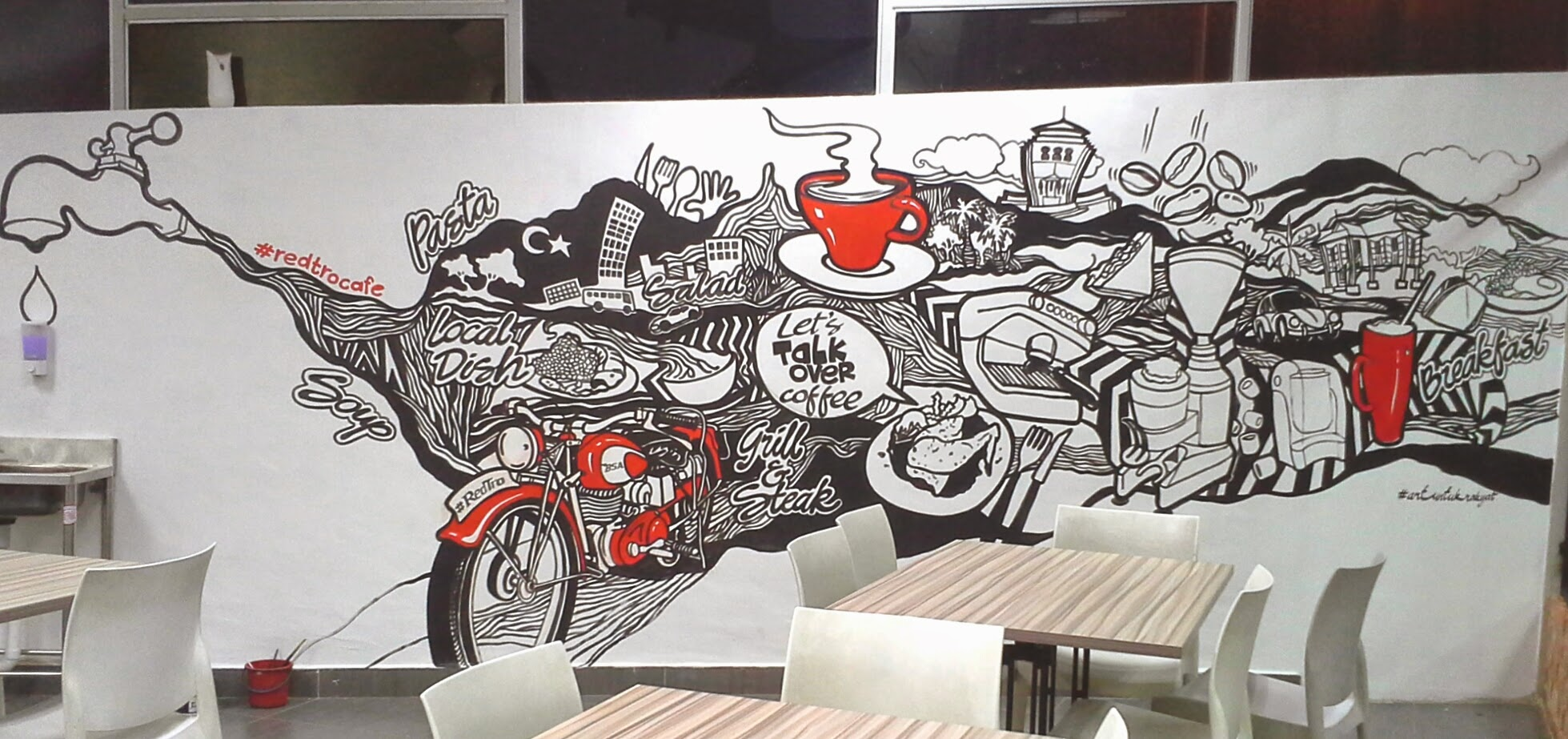 Aur fine art studio mural doodle redtro cafe medini6 for Mural untuk cafe