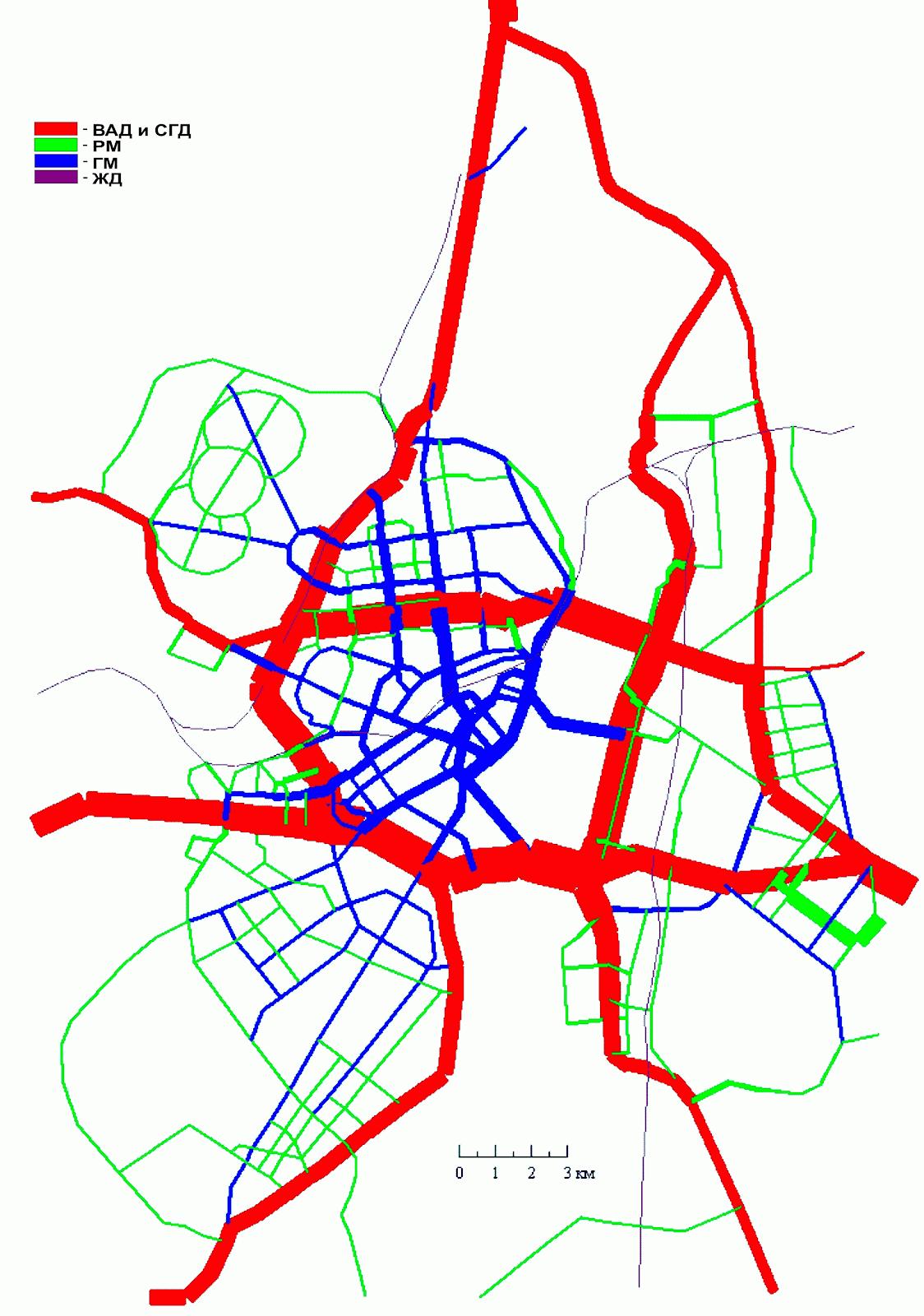 8. Вариант III. Схема МУДС совмещенная с картограммой автомобилепотоков по категориям магистральных улиц с четырьмя диаметрами МНД