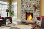 Wiarton Brown Grey Wall Stone with a Strata Mantel