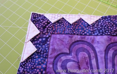 Purple batik table topper with prairie points6