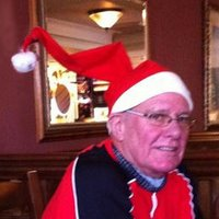 Man wearing Santa hat