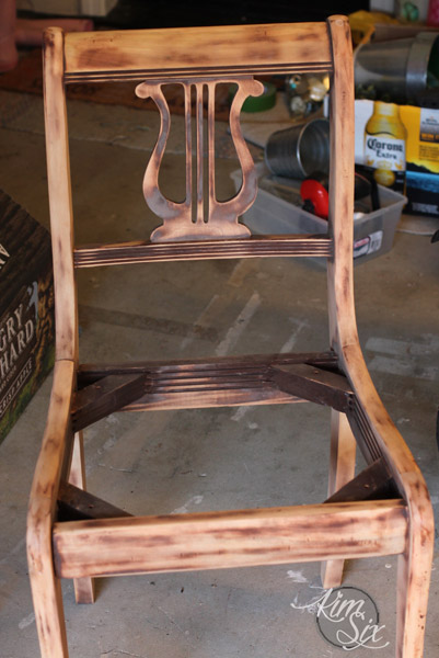 Sanding surface of harp back chair