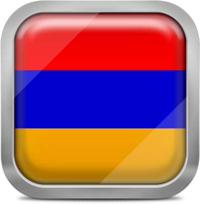 Armenia square flag with metallic frame