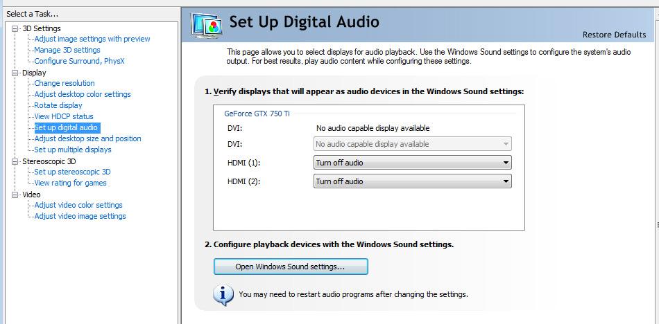 GTX 750Ti no audio through displayport to HDMI cable | Tom's