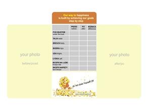 pomiary ciała przed i po, tabelka pomiarów ciała