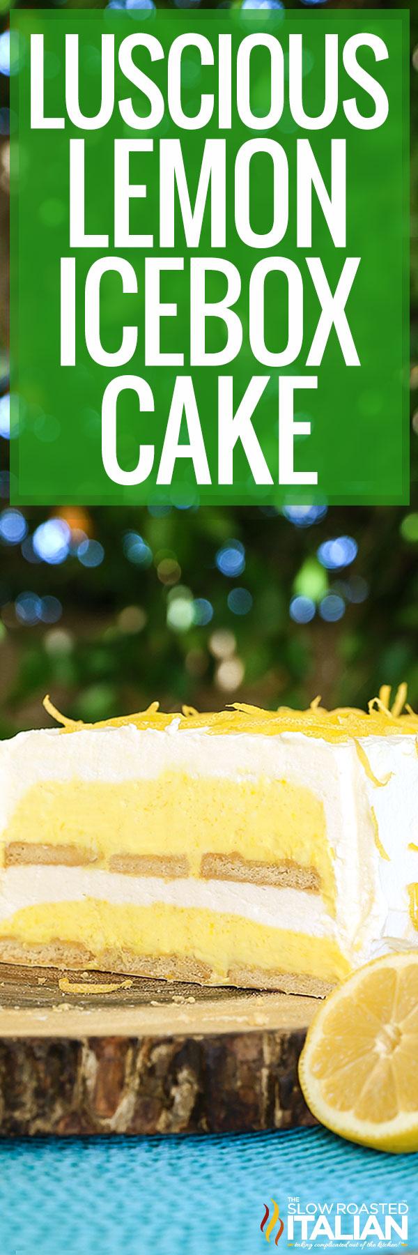 Lemon Icebox Cake on a wood trivet