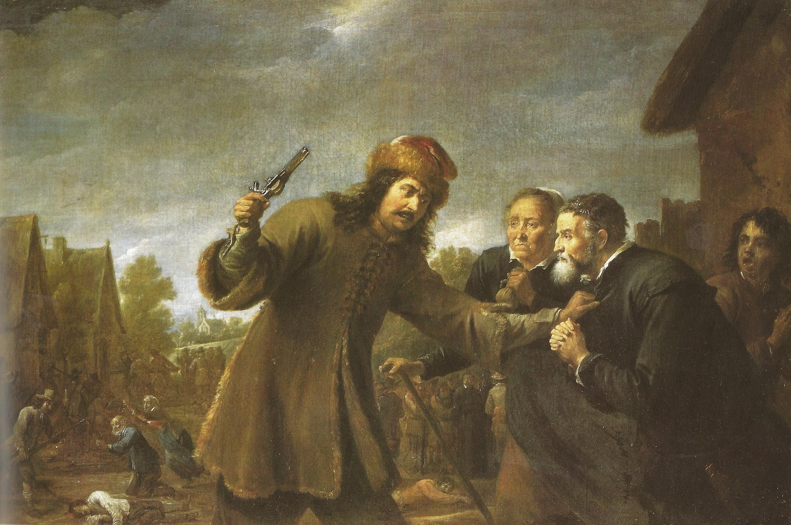 1648: David Teniers, Soldaten plunderen een dorp