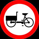 B-11  zakaz wjazdu wózków rowerowych  Znak zakazuje ruchu rowerów wielośladowych. Stosowany na drogach o dużym natężeniu ruchu, gdzie ruch tych pojazdów może powodować tamowanie ruchu.