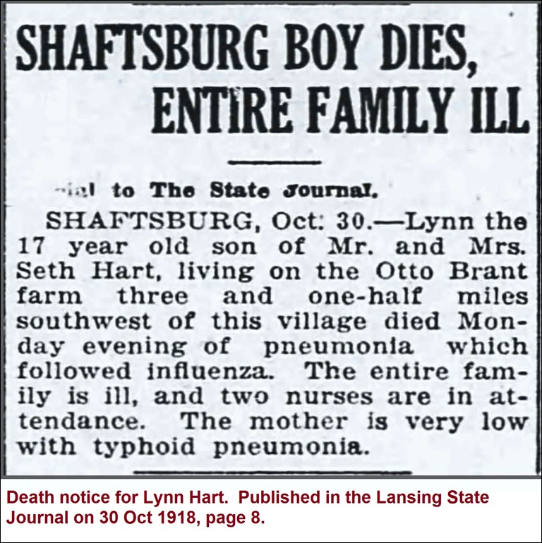 HART_Lynn_death notice_LansingStateJour_30 Oct 1918_pg 8 - Copy