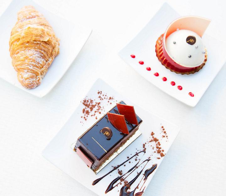 overhead photo of three desserts