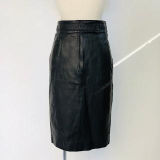 Yves Saint Laurent Rive Gauche Black Leather Skirt