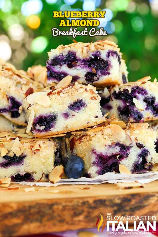 almond cake with blueberries in a stack