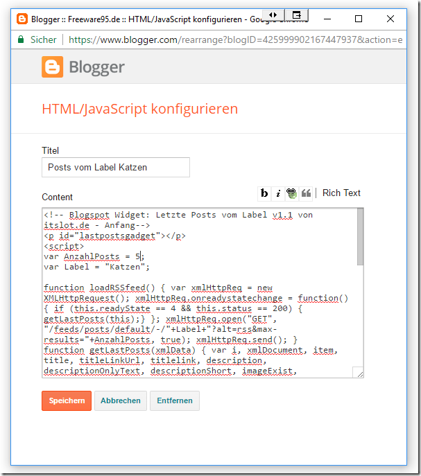 Blogspot Javascript Widget hinzufügen