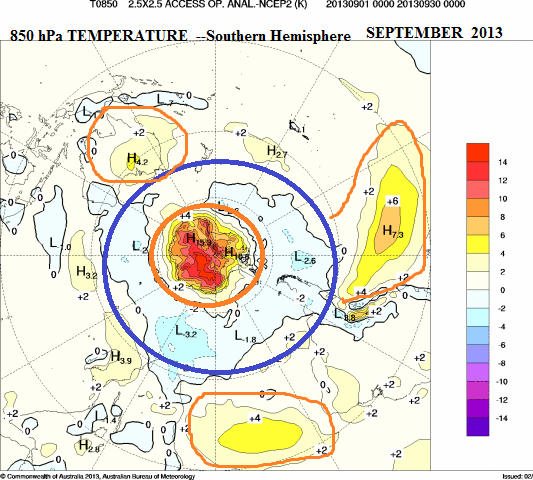 september 2013 850hpa temp southern hemisphere