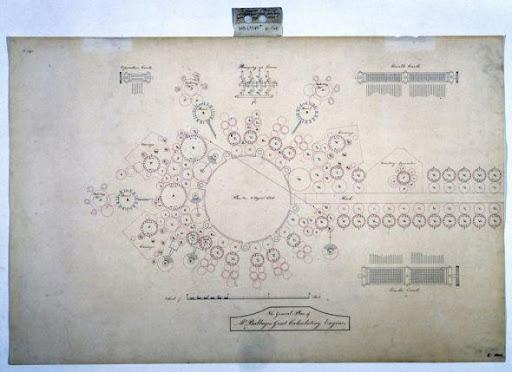 世界上第一台計算機的設計圖紙。 它由無數齒輪組成,由蒸汽機驅動
