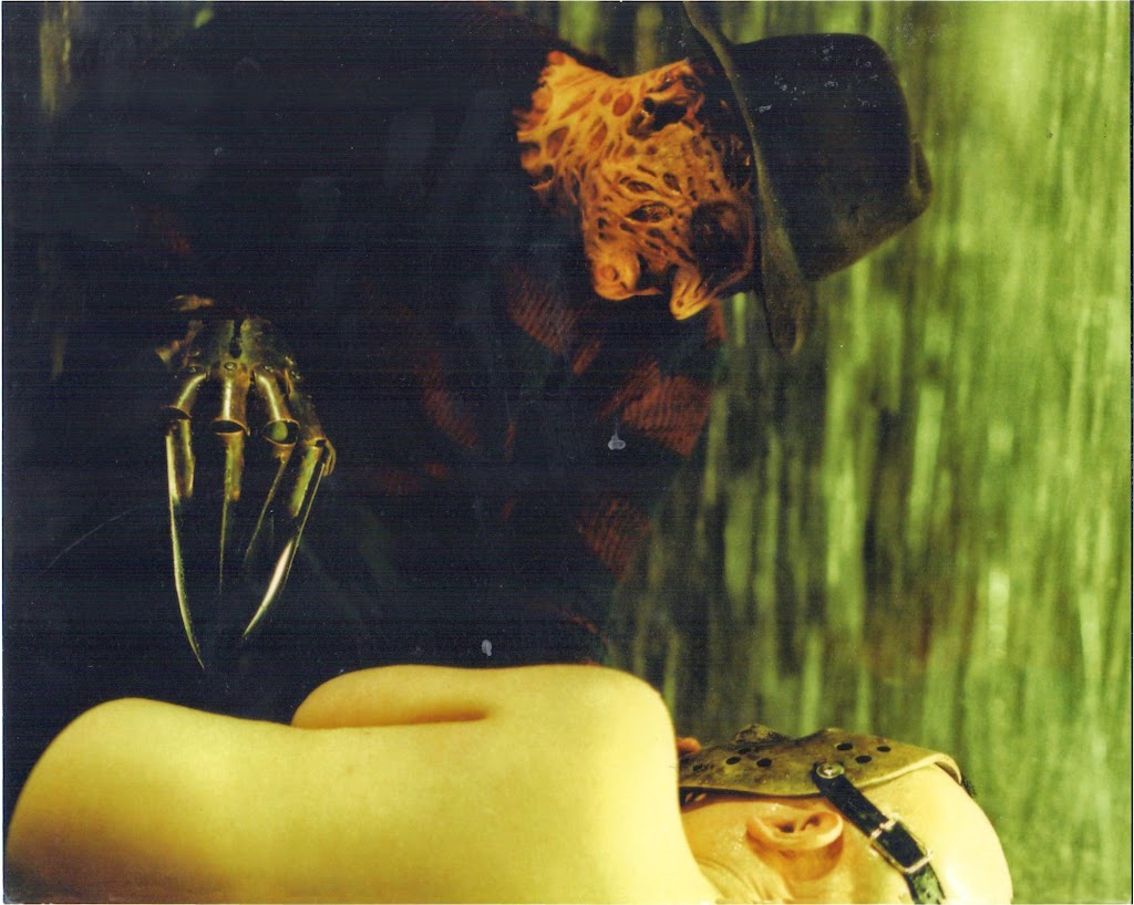 Freddy fears fire, but in Baby Jason's nightmare his fear of water is exploited. This is one of my favorite images from the film. Baby Jason reminds me of a vulnerable piece of sushi.