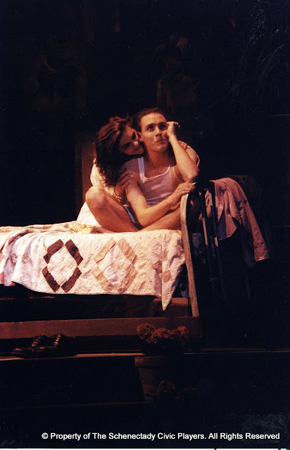 Laura LaTorre and Kevin Miller in LOOK HOMEWARD, ANGEL (R) - March 1994.  Property of The Schenectady Civic Players Theater Archive.