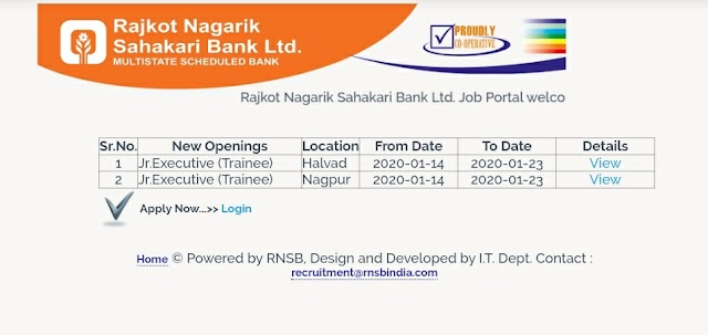 Rajkot Nagarik Sahakari Bank Ltd. leatest job news