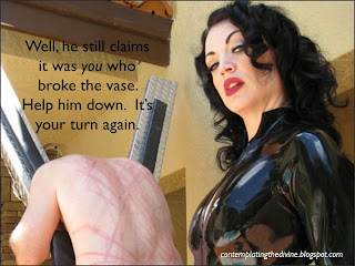 Dominatrix whips slaves in turn