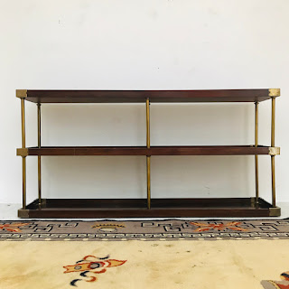 Mahogany and Brass Shelving