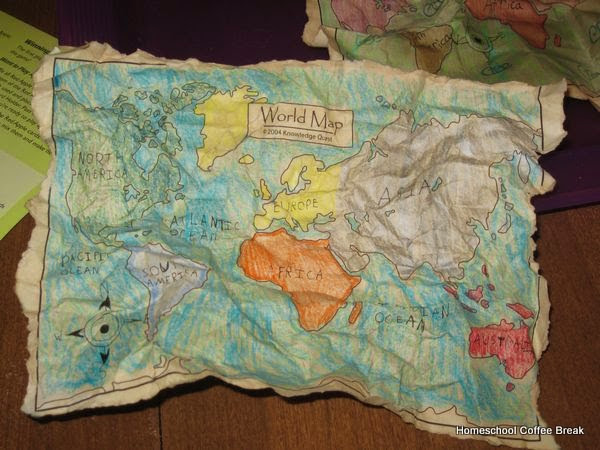 Aged Map Art on the Virtual Refrigerator, an art link-up on Homeschool Coffee Break @ kympossibleblog.blogspot.com