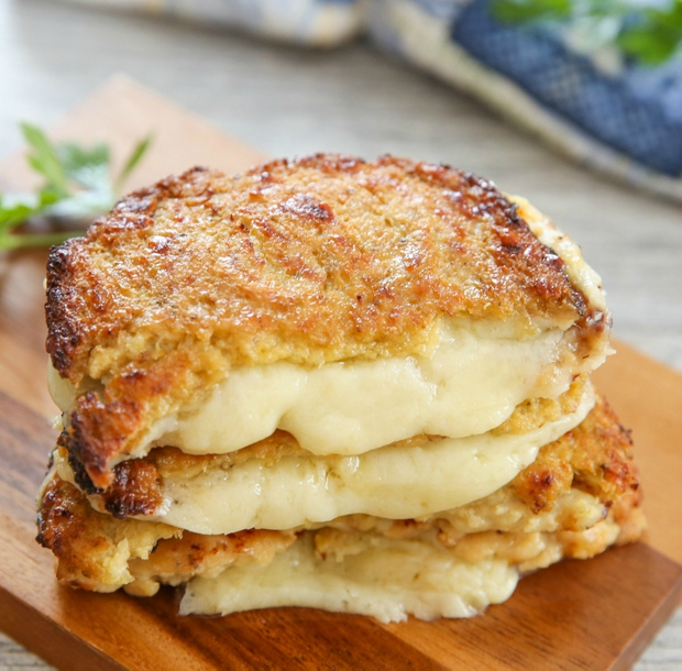 close-up photo of Cauliflower Crusted Grilled Cheese Sandwiches