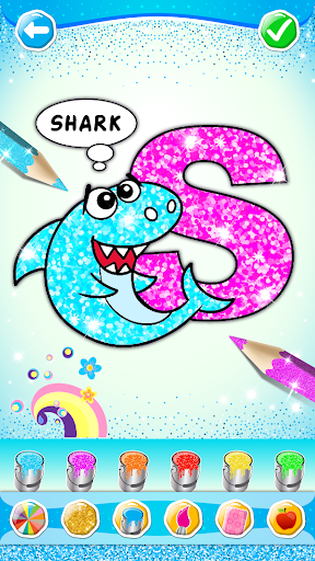 Glitter Number and letters coloring Book for kids screenshot 1