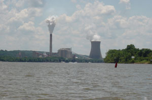 A photo of a coal plant and a nuclear plant on the Ohio River on July 23, 2006. Are you sure this river is safe to swim in? Photo by Nick Peyton.