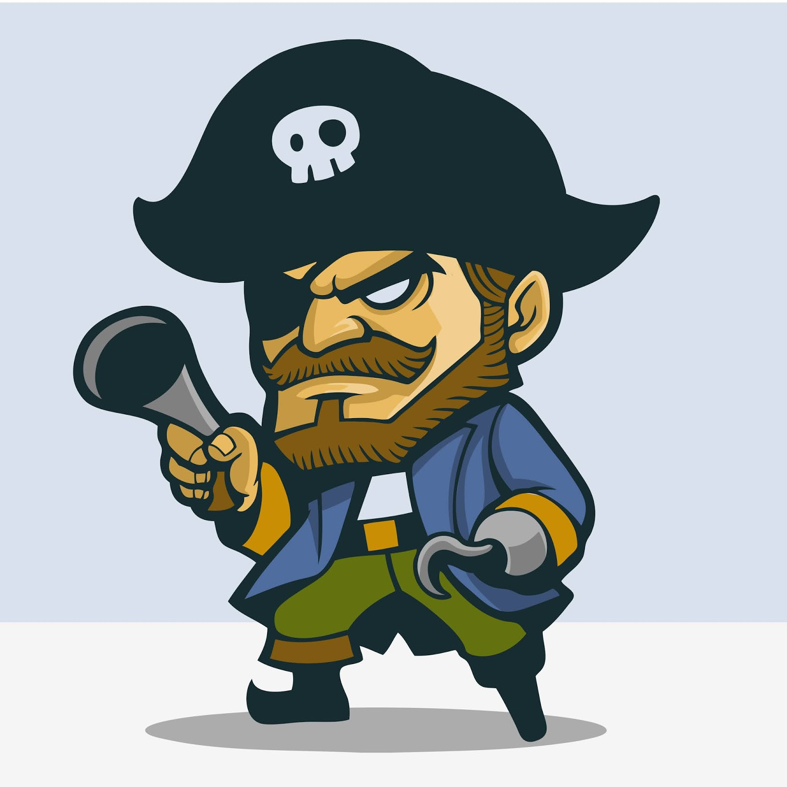 Cute One Legged Pirate Free Download Vector CDR, AI, EPS and PNG Formats