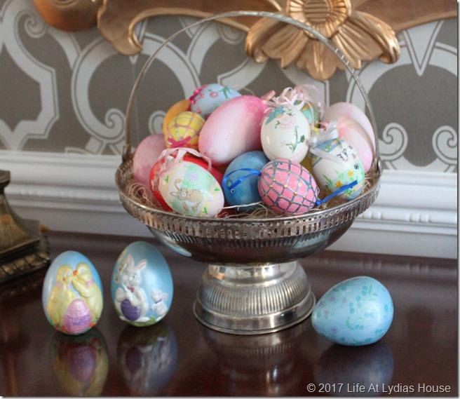 Easter Egg collection in foyer basket