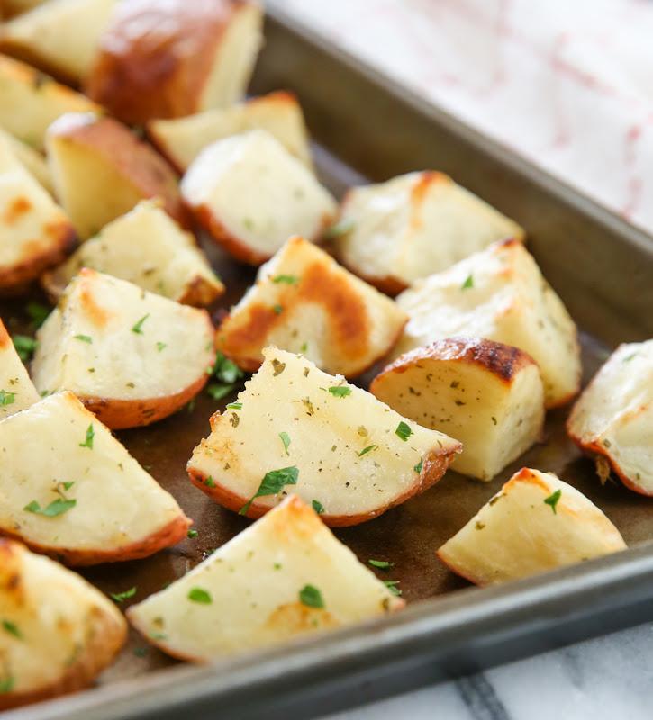 photo of Parmesan Ranch Roasted Potatoes on a sheet pan