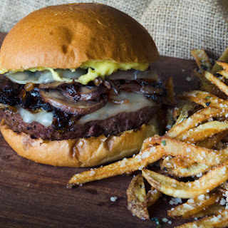 Mushroom Burger with Provolone, Caramelized Onions and Aioli