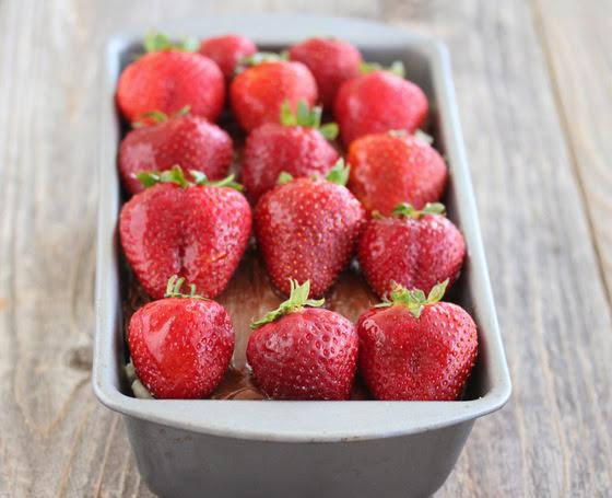 close-up photo of strawberry tiramisu cake in a pan