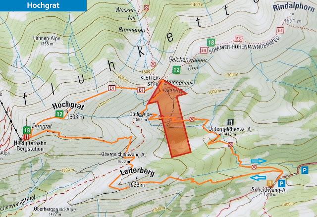 Plan Map Karte RundstreckeScheidwangalpe - Leiterberg - Hochgrat - Brunnenauscharte Nagelfluhkette Allgäu