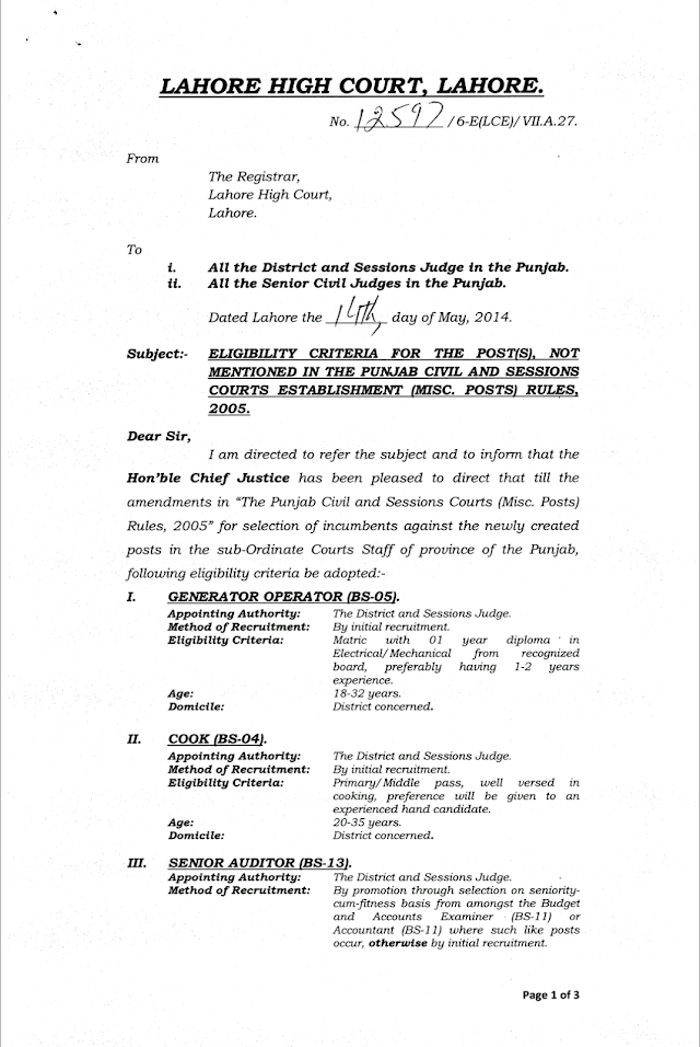 ELIGIBILITY CRITERIA FOR THE POSTS IN THE PUNJAB CIVIL AND SESSIONS COURTS ESTABLISHMENT