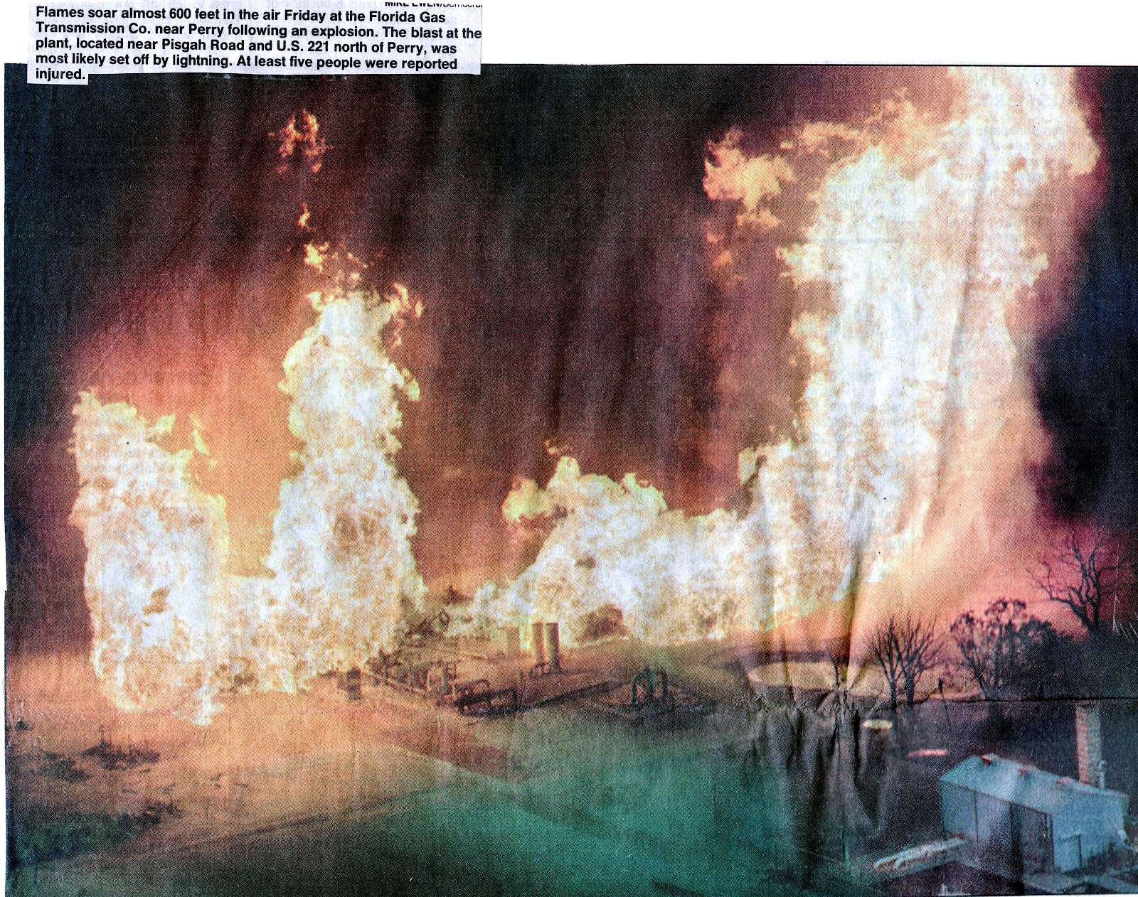Gas Plant Fire - Taylor County & Perry, Florida History