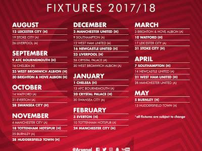 Full Arsenal fixtures list CONFIRMED 2017/18