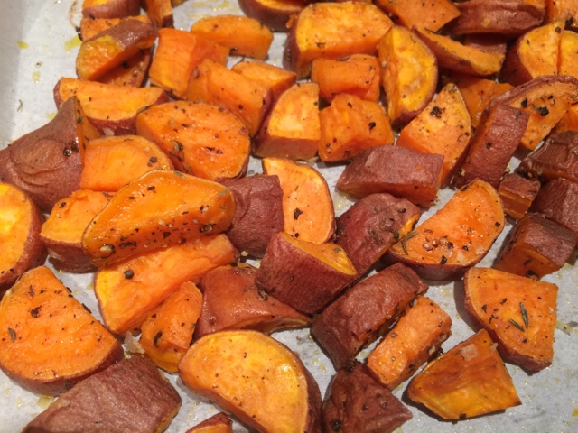 Sassy Wine Belly - Roasted Sweet Potatoes with Thyme