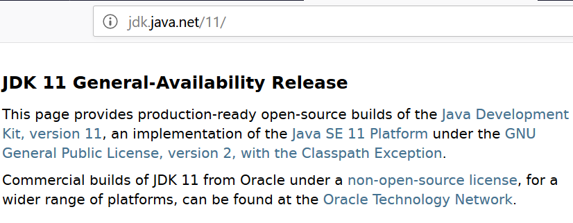 JDK 11 GPL java.net