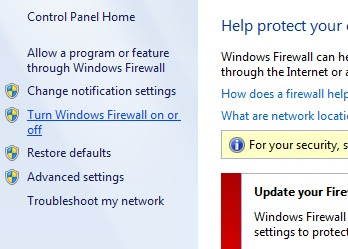 Turn off firewall in Windows 7