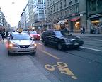 Rue de Lausanne, inauguration de la piste anti-cyclable: épisode 4. Photo: dani