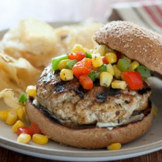 Chicken Burgers with Corn Relish.