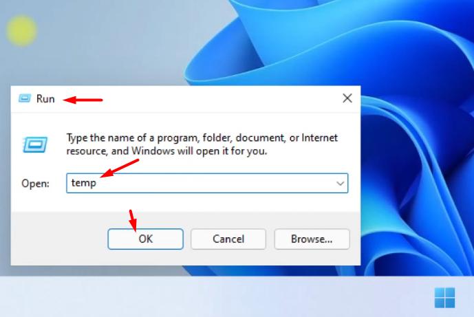 Open run in Windows 11 and type temp