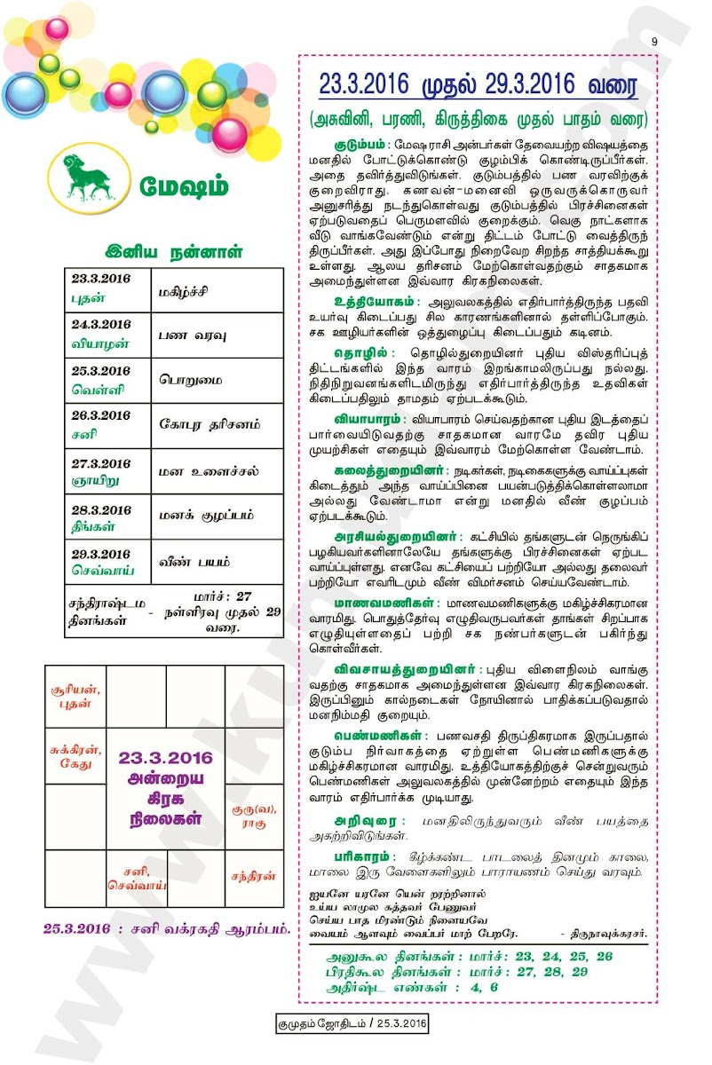 Kumudam Jothidam Raasi Palan March 23-29, 2016