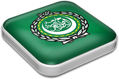 Flag of Arab League with metallic square frame