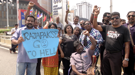 Protest against Rajapaksa's visit to Malaysia